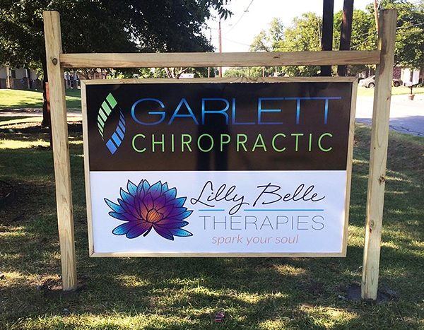 Garlett Chiropractic and Lilly Belle aluminum outdoor signs
